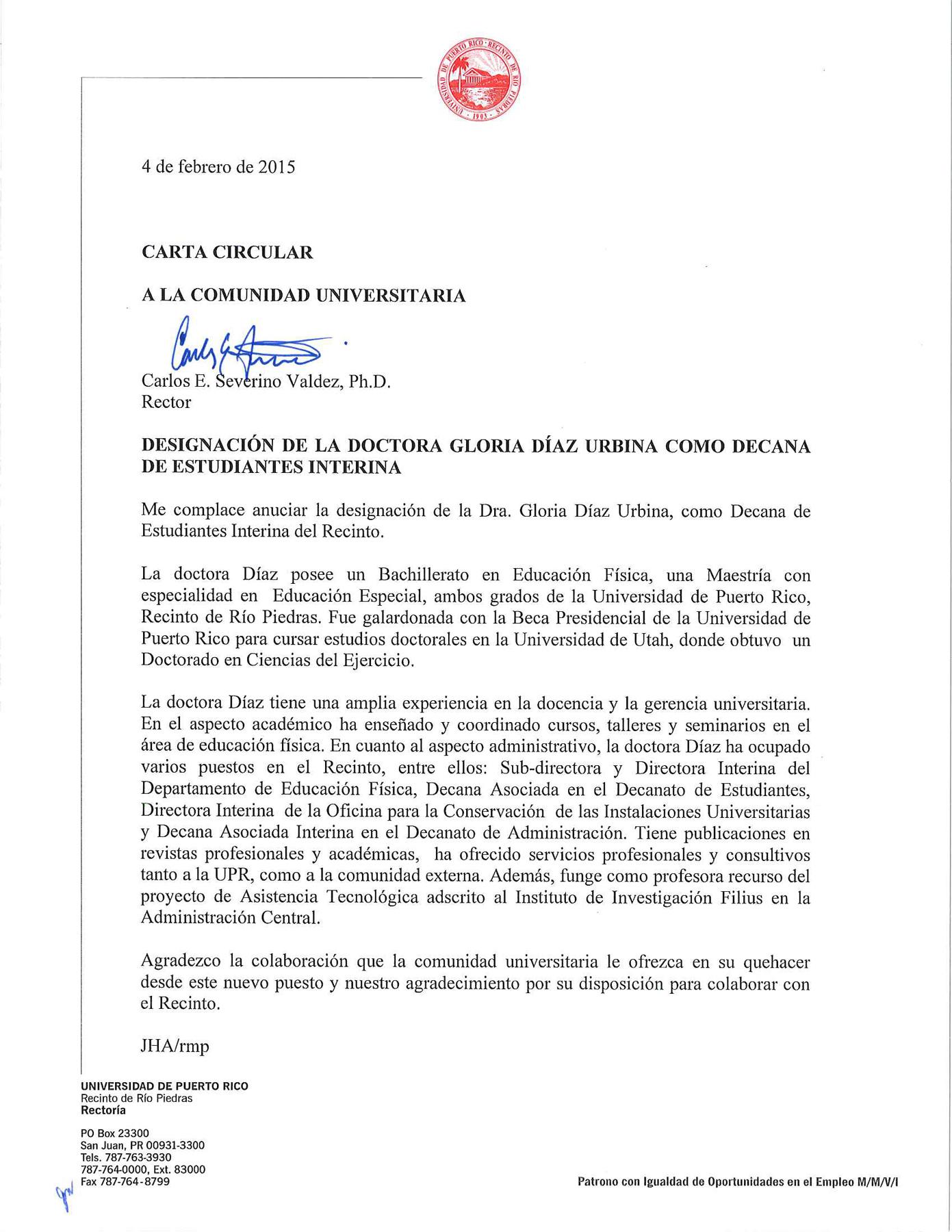 Circular-Designacion-Gloria-Diaz-Urbina-Decana-Int-Estudiantes