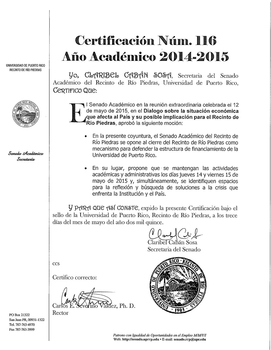 Certificación-116-Senado-Académico-UPR-RP