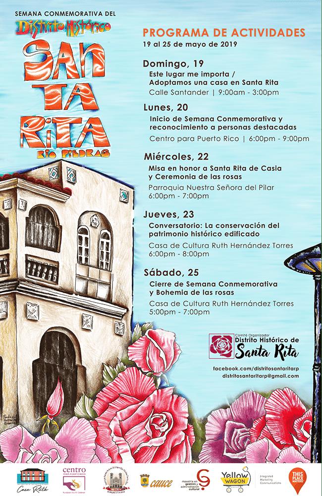 Poster de actividad Semana conmemorativa del distrito historico santa rita rio piedras