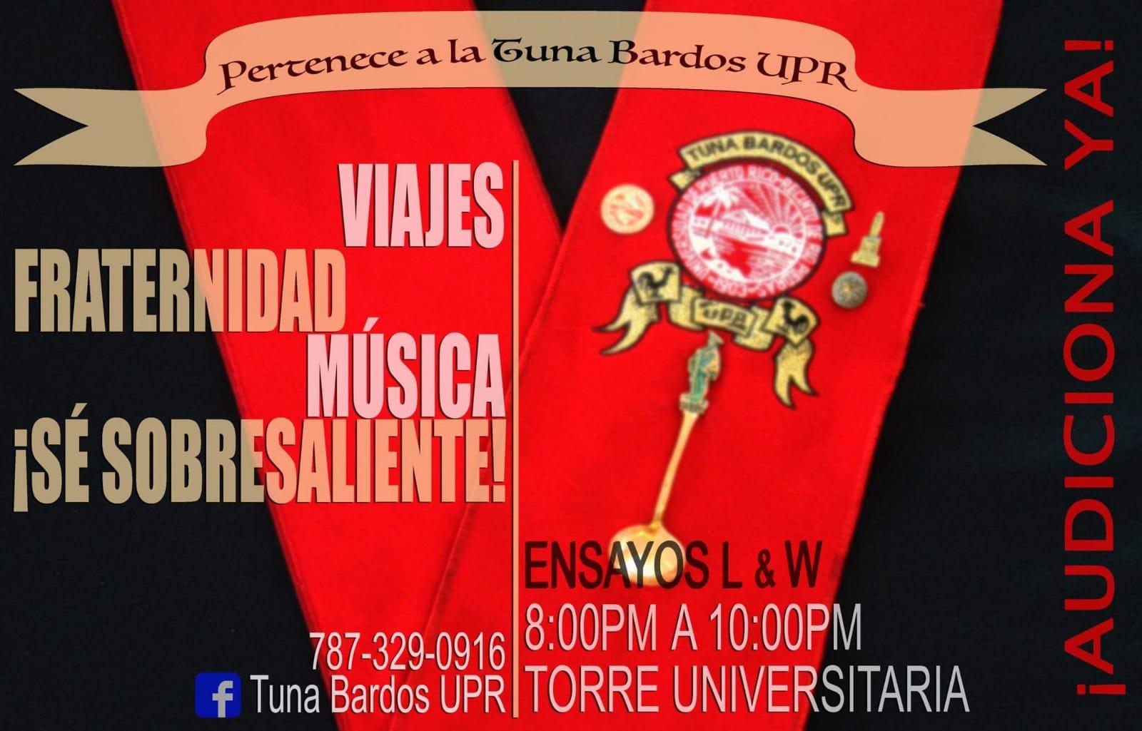 Flyer de audicones Tuna Bardos UPR