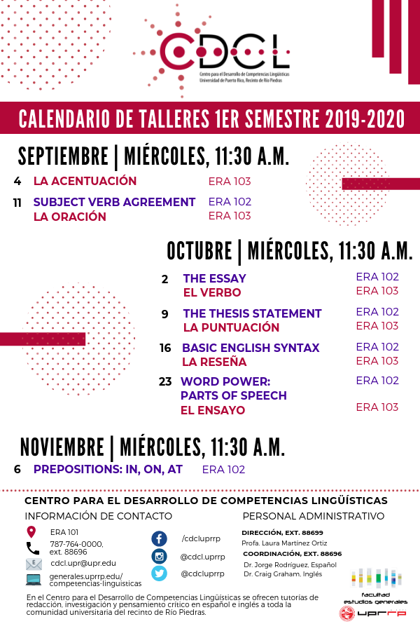 Taller: Prepositions: in, on, at @ Edificio Ernesto Ramos Antonini 102