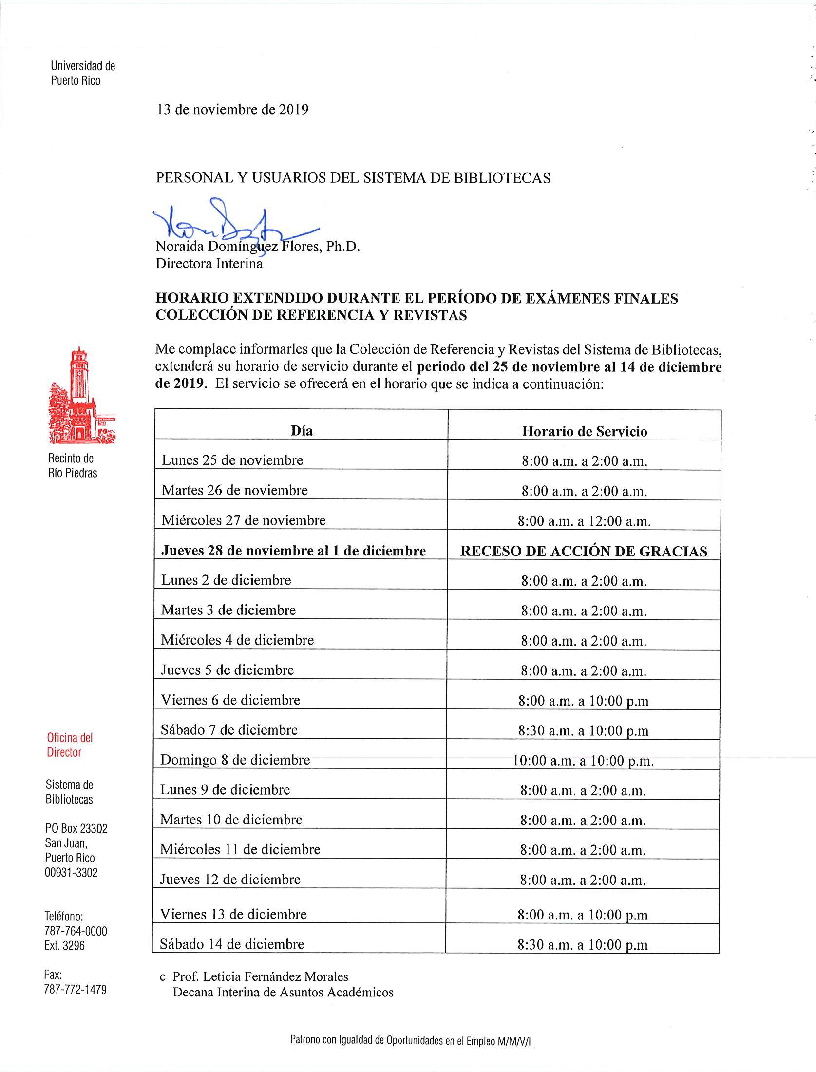 tabla horarios