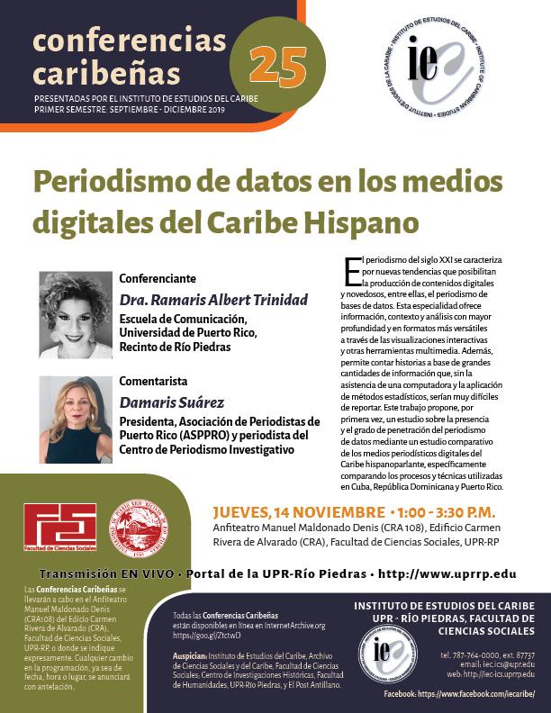 CC25: Periodismo de datos en los medios digitales del Caribe Hispano @ Anfiteatro Manuel Maldonado Denis (CRA 108)