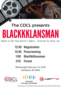 CDCL - CINE FORO: BlacKkKlansman, Anfiteatro 5, DMN