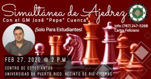 Gran maestro de Ajedrez jugará una simultánea en la IUPI