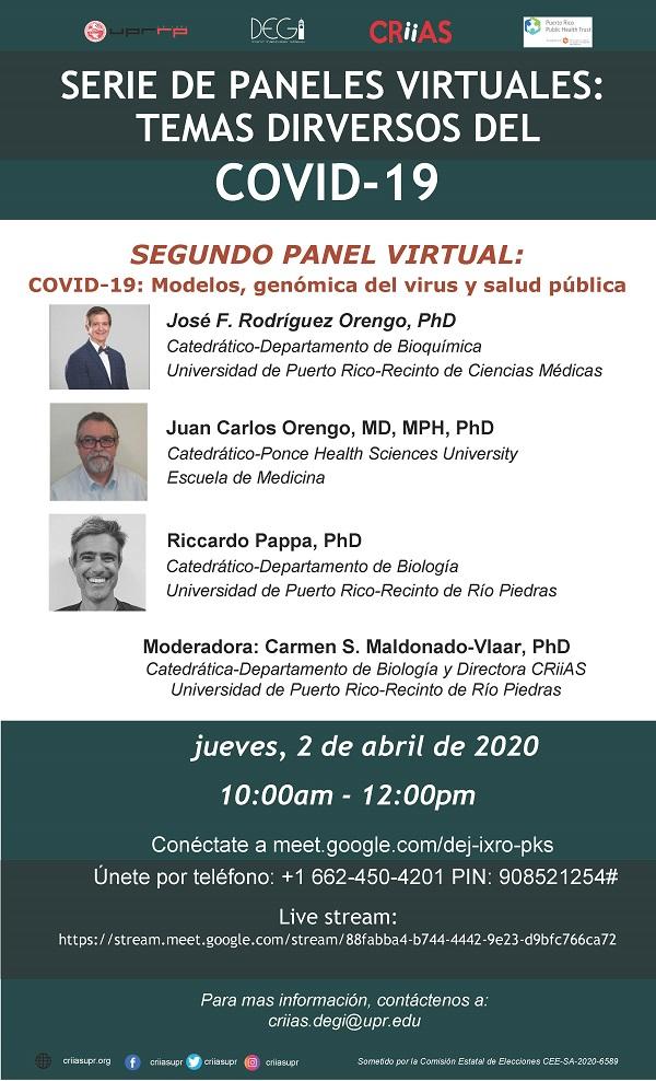 SegundoPanel Virtual: COVID-19: Modelos, Genómica del Virus y Salud Pública